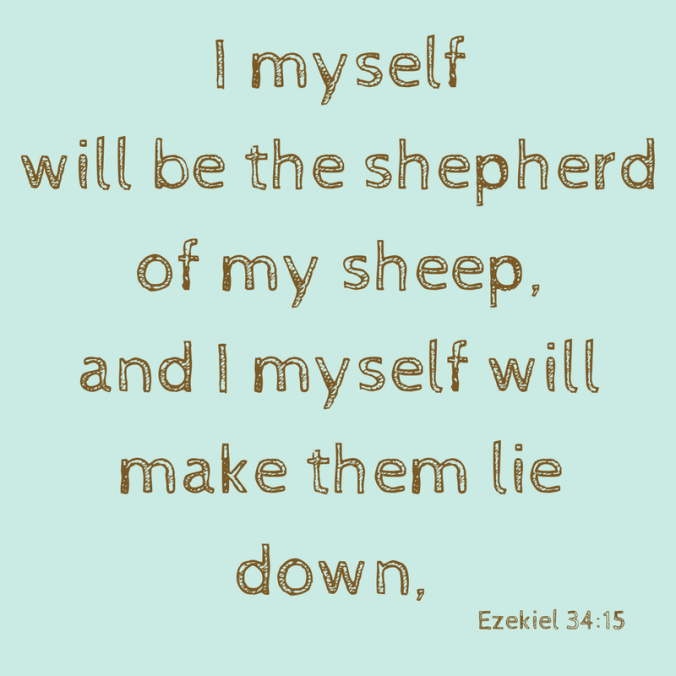 I myself will be the shepherd of my sheep, and I myself will make them lie down,