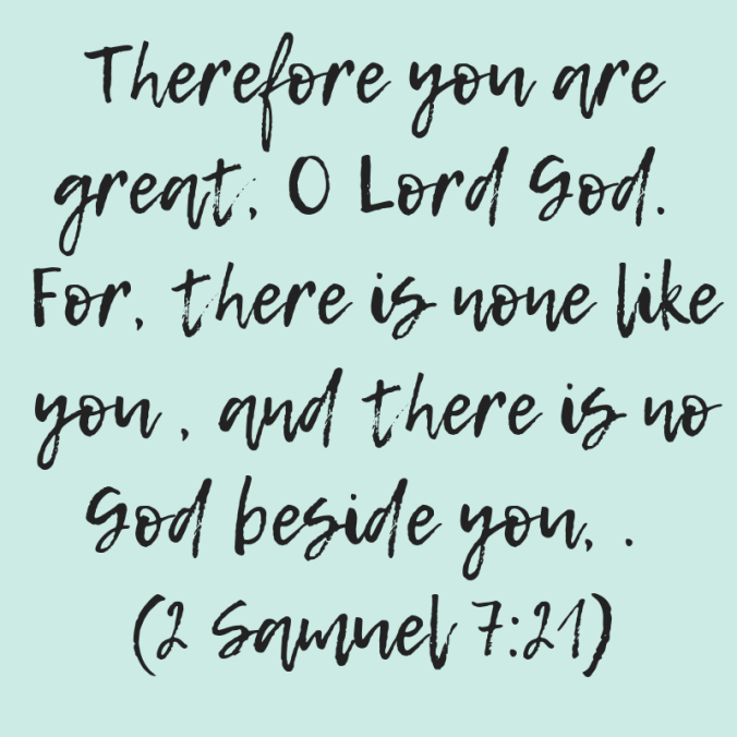 Therefore you are great, O Lord God. For, there is none like you , and there is no God beside you, . 2 Samuel 7_21)